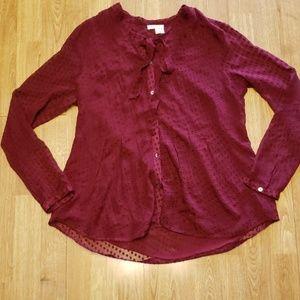 Meadow Rue mulberry tie neck silk blend blouse